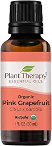 Plant Therapy Organic Pink Grapefruit Essential Oil 30 mL (1 oz) 100% Pure, Undiluted, Therapeutic Grade