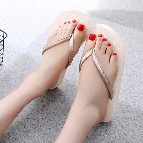 fashion British LIUXINDA of flops pair flip Beige XZ female fashion summer A new fTwZqTP