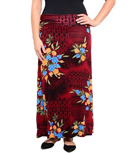 Plus Size Wine Floral Maxi Skirt --Size: 2x Color: Wine