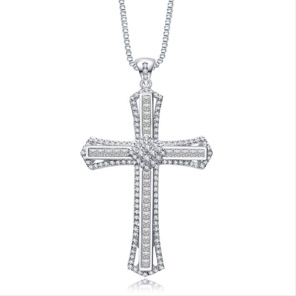 VAWAA Encanto 14k Oro Blanco Diamante Cz Cruz Colgante 925 Plata de Ley Fiesta Boda Colgante Collar para Mujeres Hombres Piedras Preciosas joyería