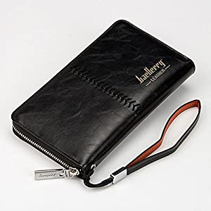 RS Men's Leather Zip Clutch Business Long Wallet Purse Credit Card Holder Checkbook