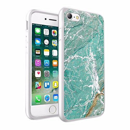 iPhone X Hülle, einzigartige Custom Design Prodective harter zurück dünner dünner Fit PC Bumper Case Kratzfeste Abdeckung für iPhone X - Mint & goldenen Marmor Design 042