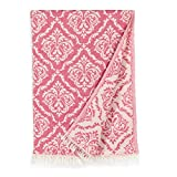 Linum Home Textiles Damask Delight Pestemal Beach Towel, Pink