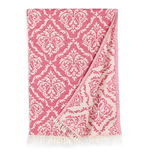 Linum Home Textiles Damask Delight Pestemal Beach Towel, Pink by Linum Home Textiles