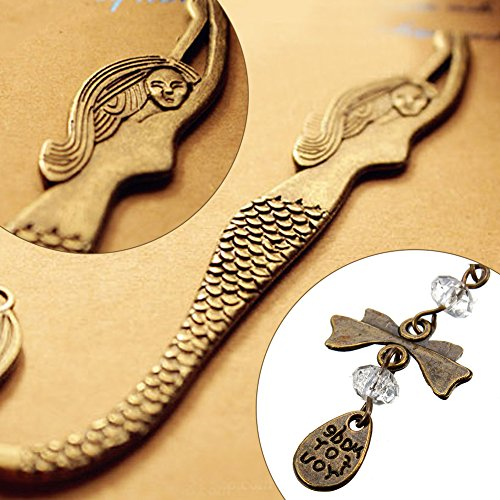 Koogel Metal Bookmark,Classical Exquisite Mermaid Hooks Bookmark with A String of Beads