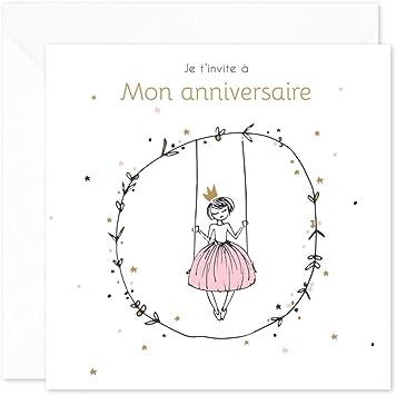 Popcarte 16 Cartes D Invitation Anniversaire Fille Avec 16 Enveloppes Princesse Blanc A Paillettes Amazon Fr Jeux Et Jouets