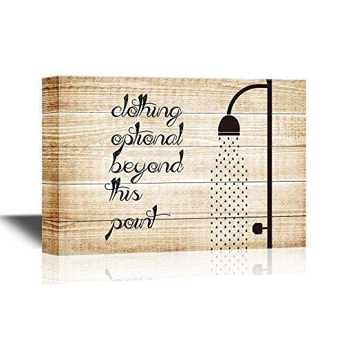 wall26 - Bathroom Canvas Wall Art - Clothing Optional Beyond This Point - Gallery Wrap Modern Home Decor | Ready to Hang - 12x18 inches (Clothing Optional Galleries)