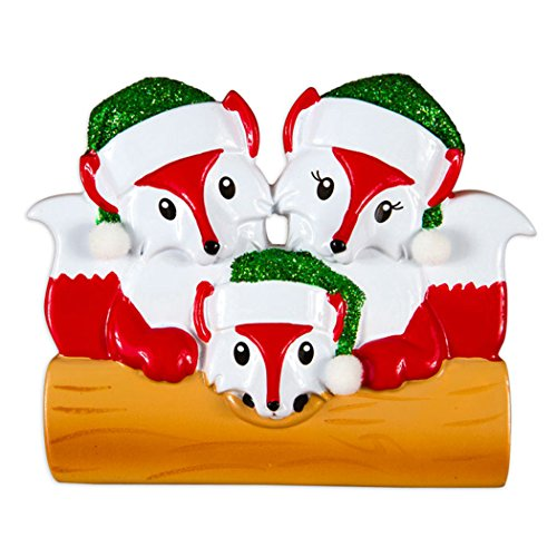 (Personalized Red Fox Family of 3 Christmas Tree Ornament 2019 - Parent Child Glitter Green Hat Wood Log Holiday Kid Grand-Children Gift Tradition New Mom Dad Baby Year - Free Customization (Three))