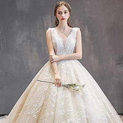Elegant Puffy Tulle Dresses For Women Women S Lace Wedding Dress Deep V Neck Luxury Princess Wedding Dresses For Bride Floor Length Champagne Xl Buy Online At Best Price In Uae Amazon Ae