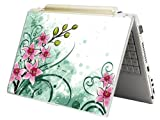 "Bundle Monster MINI NETBOOK Laptop Notebook Skin Sticker Cover Art Decal - 7"" 8"" 9"" 10"" - Fit HP Dell Asus Acer Eee Compaq MSI - Pink Green Floral"