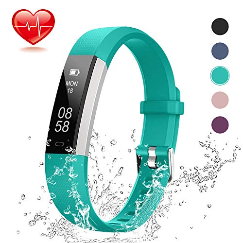 - Lintelek Fitness Tracker, Slim Activity Tracker with Heart Rate Monitor, IP67 Waterproof Wristband with Step Counter, Calorie Counter, Pedometer for Android & iOS Smartphone for Kids Women