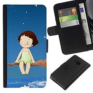 All Phone Most Case / Oferta Especial Cáscara Funda de cuero Monedero Cubierta de proteccion Caso / Wallet Case for HTC One M9 // Dream Tree Branch Stars Sky Girl Happiness Art