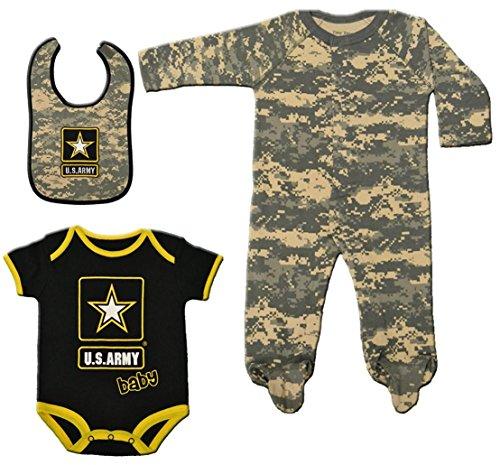 3 Pc Army Acu Baby Set Black & Camo Bib, Sleeper & Bodysuit 3-6 Mo Army Bib