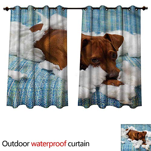 cobeDecor Dog Lover Home Patio Outdoor Curtain Naughty Playful Puppy W55 x L45(140cm x -