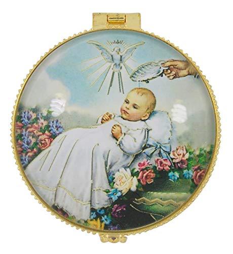 Porcelain Baptism Trinket Jewelry Box, 1 7/8 Inch