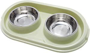 MXCELL Double Dog Bowls Stainless Steel Dog Bowl with No Spill Non-Skid PP Station 22oz Feeder Bowls Pet Bowl for Dogs Cats and Pets