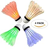 Arespark LED Badminton Shuttlecock, Dark Night Colorful LED Goose Feather Glow Birdies Lighting, Light Up Shuttle-Cocks Badminton Balls for Outdoor & Indoor Sports Activities, 4-Pack