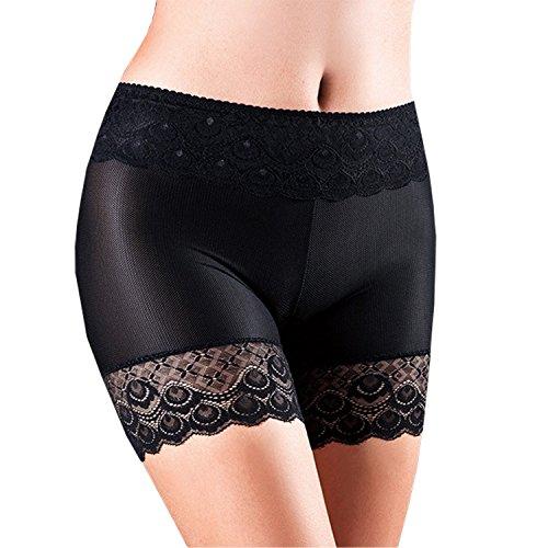 Misscat Women Lace Short Safety Pants Leggings Stretch Soft Boxer Briefs Black (Womens Lace Boxer Shorts)