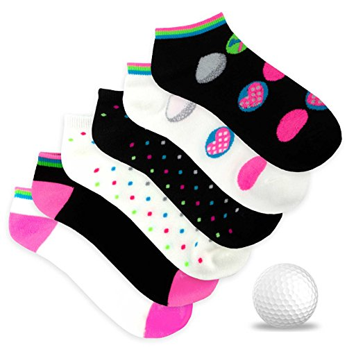 TeeHee Women's Golf Socks No Show Socks 6-Pairs Assorted (Golf Ball Dot) (Socks Ladies Golf)