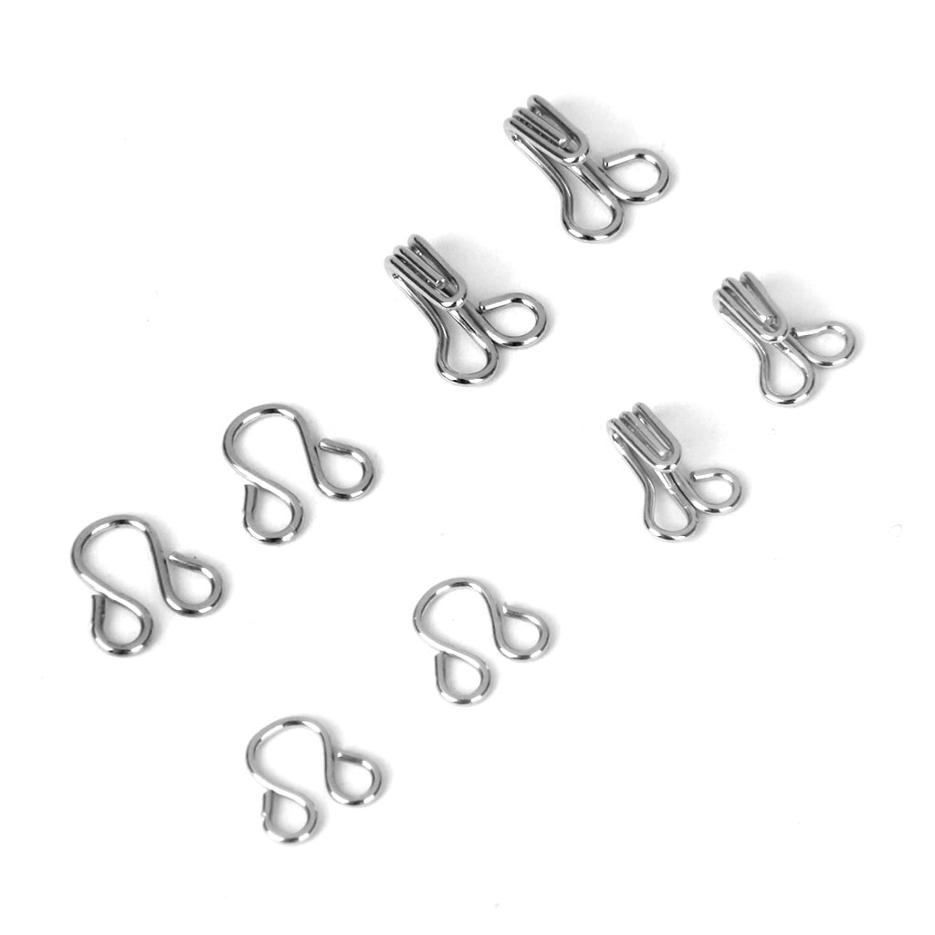 Bra Hooks and Eyes Clothing Sewing 8mm 10mm Pack of 36 Sets Silver Generic