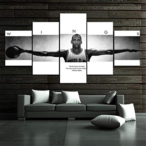 - NATVVA Canvas Pictures for Living Room Home Decor Sport Wings Autographed Poster Print Canvas Painting 5 Piece