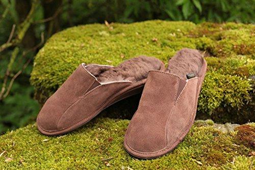 Piel de cordero Zapatillas - VIKTOR Hombre Zapatillas Zapatillas de casa Marrón