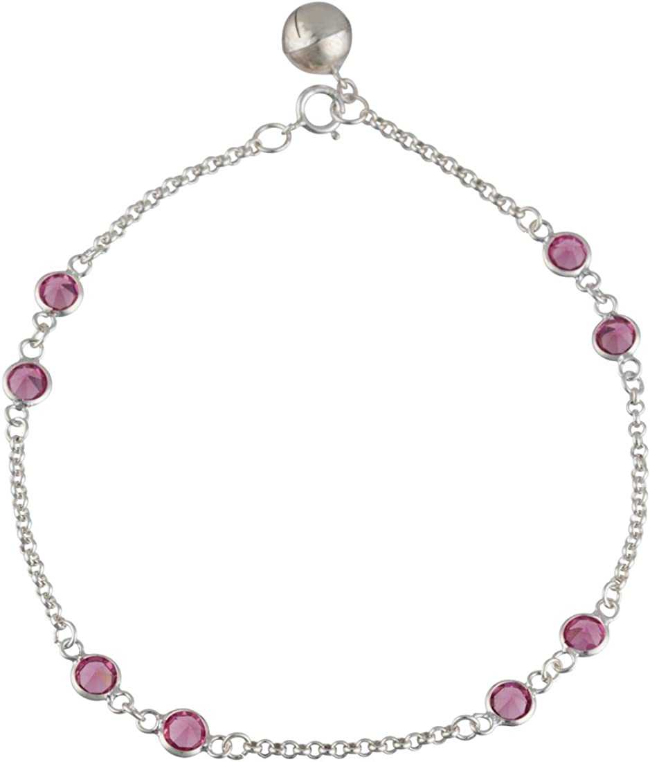 3cm Extender 21.5 Silverly Womens 925 Sterling Silver Pink Cubic Zirconia Anklet Ankle Bracelet
