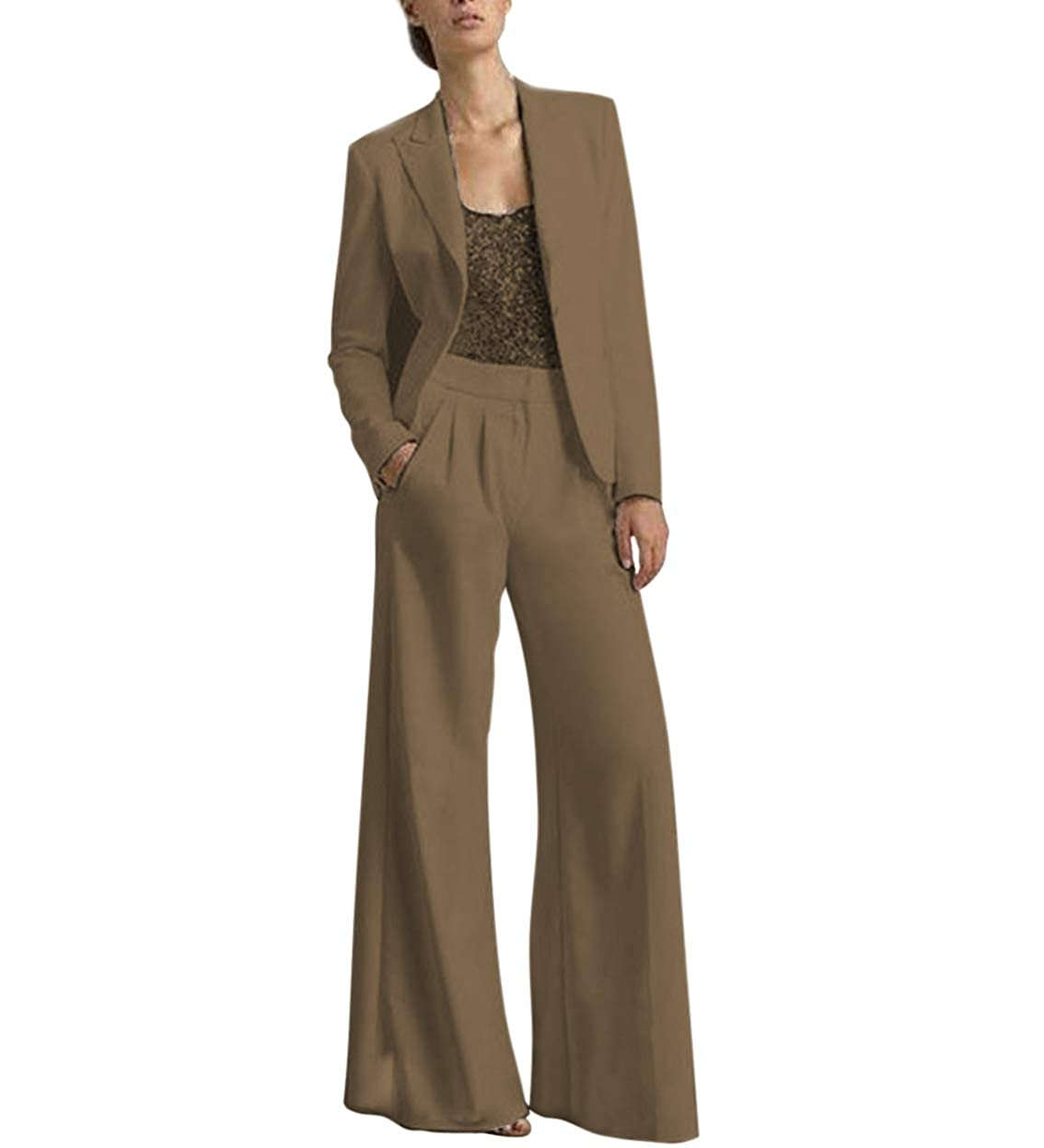 Brown TBB Women's 2 Pieces Mother of The Bride Dress Pant Suits with Polyester Jacket Office Lady