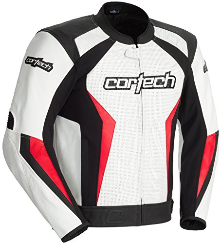 Cortech Latigo 2.0 Mens White/Red Leather Jacket - Medium ()