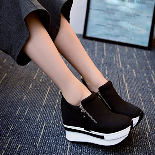 erthome Women Wedges Boots Platform Shoes Slip On Ankle Boots Fashion Casual Canvas Shoes Black 1 Vig40Gma
