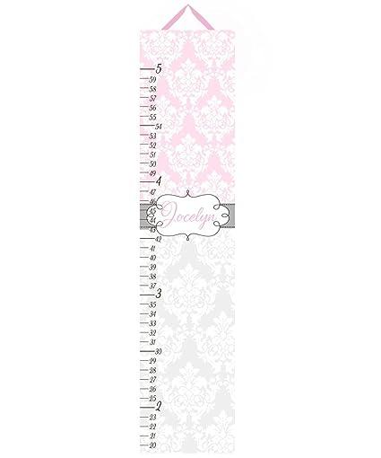 Amazon Canvas Growth Chart Soft Pink And Gray Damask Girls