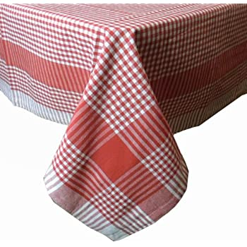 Red Cotton Gingham Check Picnic Tablecloth, 52 Inch Square