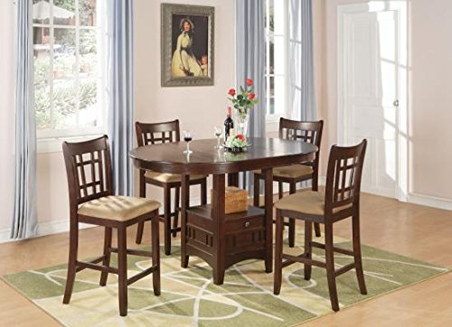 Coaster Warm Brown Finish Lavon 5 Piece Counter Table and Chair Set