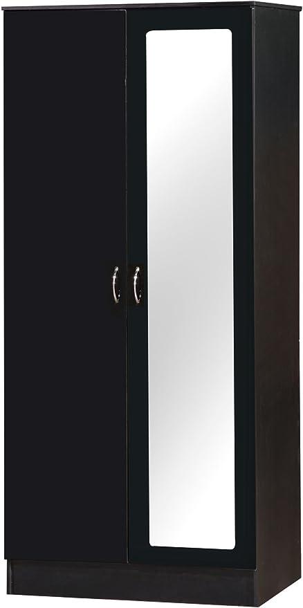 Alpha Deux Tons Noir Laque 2 Portes Armoire Avec Miroir Unite De