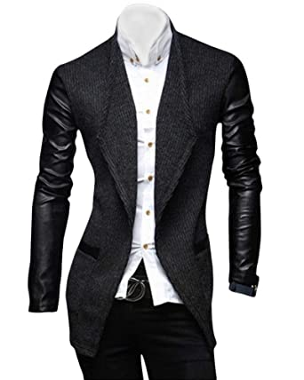 Tweed para Hombres Leisure Stand Collar Faux Fiesta Leather ...
