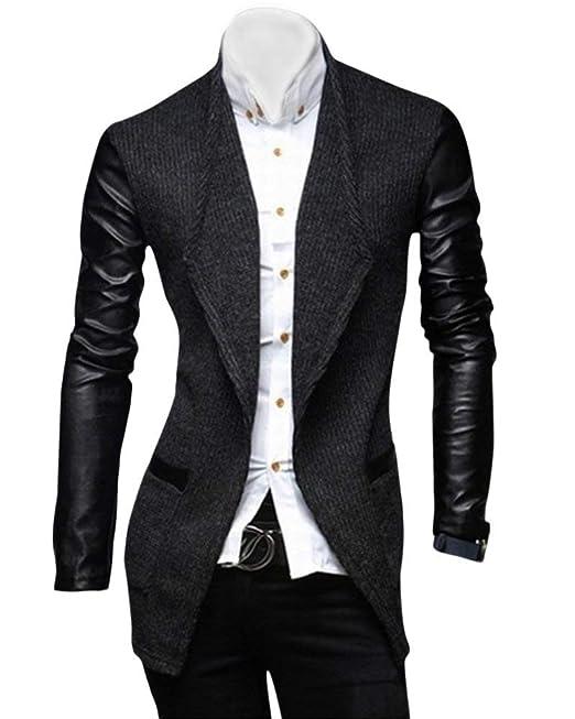 Tweed para Hombres Leisure Stand Collar Faux Boda Leather para Ropa Abrigo Largo Trench Coat Traje Chaquetas Traje Chaqueta Chaquetas Prendas De Abrigo: ...