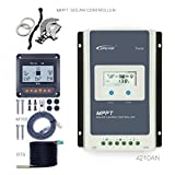 EPEVER 40A MPPT Solar Charge Controller 100V PV Negative Grounded Tracer 4210AN + Remote Meter MT-50 + Temp Sensor Solar Regulator with LCD Display for Gel Sealed Flooded Lithium Battery