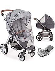 Laloona – universellt myggnät för barnvagn, barnvagn, buggy, liggdel och resesäng   Tvättbar och hållbar högkvalitativ insektsskyddsnät av fint nät – grå
