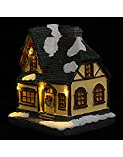 Garneck Lighted Christmas Village Houses Miniature Christmas House Christmas Village Collection Holiday Tabletop Decor