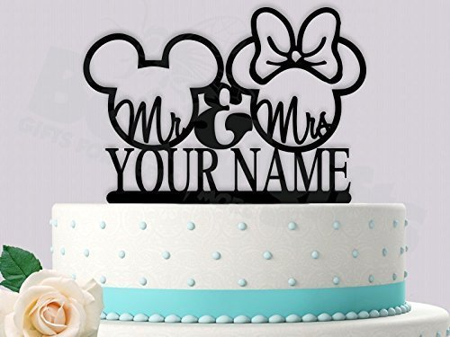 Disney Wedding Cake Toppers (Mr and Mrs Personalized Inspired Wedding Cake Topper)