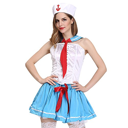Naval Officer Uniform Costume (Generic Women's Hot Naval Costume Halloween Cosplay Sexy Navy Uniforms Adult)