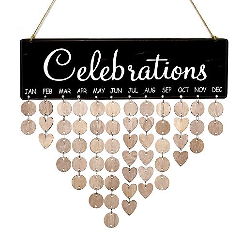 YuQi Celebrations Calendar Wood Wall Hanging Plaque Family Friends Birthday Gifts DIY Reminder Wall Calendar Board for Home Decor(Black)