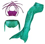 HBMaida Girls Sparkle Mermaid Tail with Monofin Swimmable Tail Swimsuit 3PCS Sets
