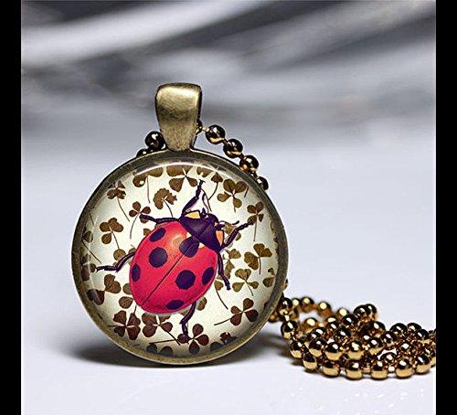 Ladybug Green Clovers Long Necklace,Vintage Art pendant,Glass Round Brass Pendant,Art Photo Jewelry,Glass necklace,