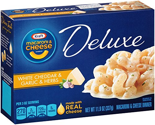Kraft Macaroni and Cheese Deluxe, White Cheddar and Garlic and Herbs, 11.9 Ounce (Cheese Garlic Cheddar)