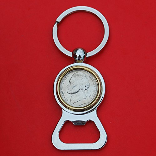 US 1985 Jefferson Nickel 5 Cent BU Uncirculated Coin Gold Silver Two Tone Key Chain Ring Bottle Opener NEW