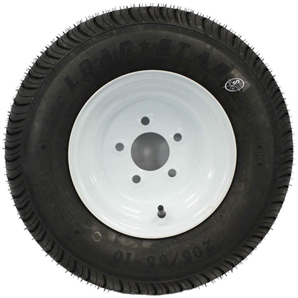 SWW 810 LoadStar 5-hole 10 x 6 White Trailer Wheel and Tire 20.5x8-10 4ply