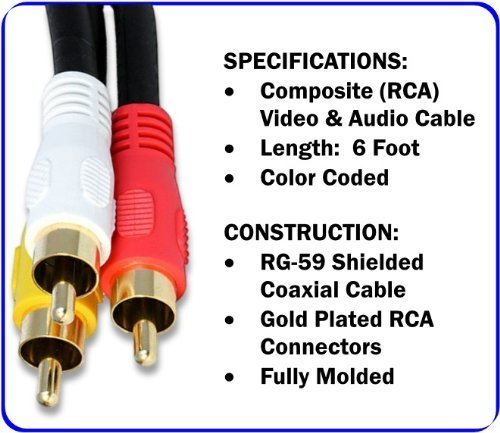 Amazon.com: 6 Foot Composite Cable (Yellow)Video & (White, Red) Stereo Audio RCA Connectors RG59/U Cord: Garden & Outdoor