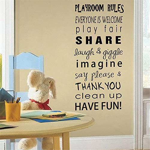 pabear Vinyl Removable Wall Stickers Mural Decal Art Kids Playroom Decor Playroom Rules Kids Room Playing Rule Leetering Sticker]()