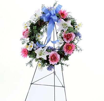 Amazon handmade memorial cemetery silk flower arrangement handmade memorial cemetery silk flower arrangement pink and blue wreath on easel mightylinksfo
